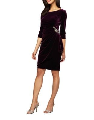 Petite Ruched Velvet Sheath Dress by Alex Evenings