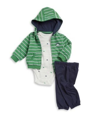 Baby Boys ThreePiece Hooded Stripe Sweatshirt Cotton Bodysuit and Pants
