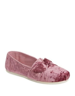 Bow Velvet Slip-On Flats by TOMS