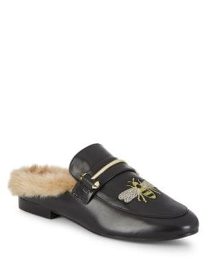 Bee Faux Fur Leather Mules by Steve Madden