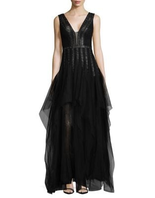 Grommeted Faux-Leather Trimmed A-Line Gown by BCBGMAXAZRIA