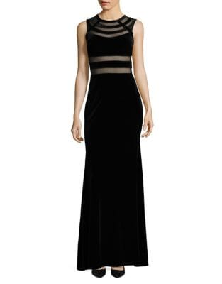 Illusion Velvet Floor-Length Gown by Betsy & Adam