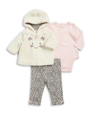 Baby Girls ThreePiece Leopard Hoodie Bodysuit and Leggings Set