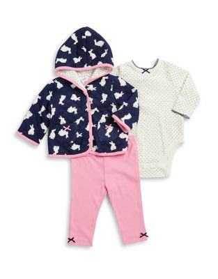 Baby Girls ThreePiece Quilted Cotton Jacket Dotted Cotton Bodysuit and Classic Cotton Leggings Set
