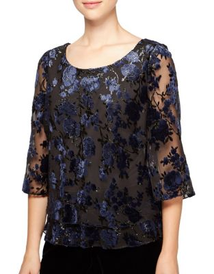 Floral Velvet Tiered Blouse by Alex Evenings