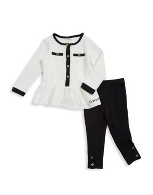 Baby Girl's Two-Piece Quilted Top and Leggings Set 500087642255