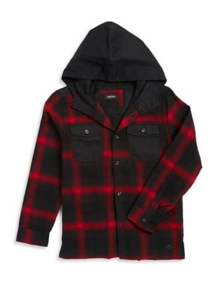Boys Plaid Shirt with Attached Hood