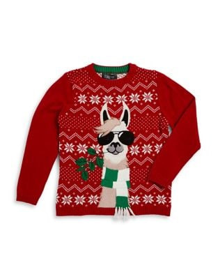 Boys Llama with Shades Cotton Sweater