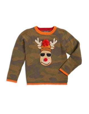 Boys Camouflage Reindeer Cotton Sweater