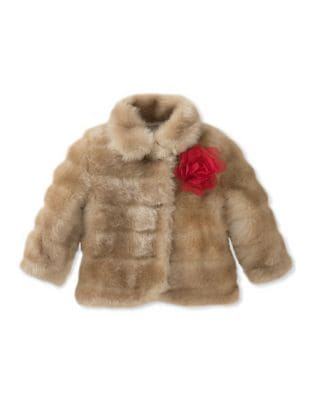 Girls Embellished FauxFur Coat