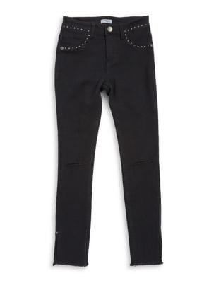 Girl's Distressed Studded Jeans 500087644237