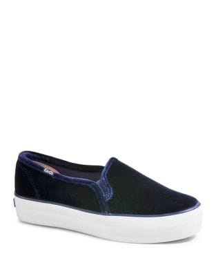 Triple Decker Velvet Slip-On Sneakers 500087644736