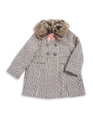 Little Girls WoolBlend Faux FurTrimmed Peacoat