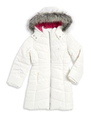 Girls Faux FurTrimmed Hooded Jacket