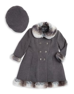 Little Girls Faux Fur Trimmed Skater Coat