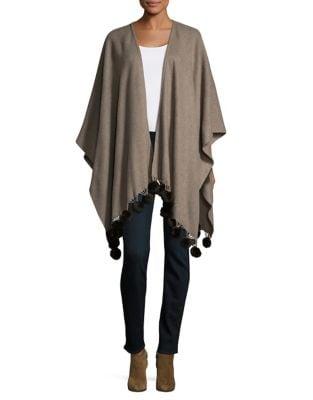 Faux Fur Trimmed Poncho 500087646081