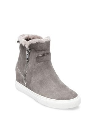 Cacia Suede Faux Fur Sneakers by Steven by Steve Madden