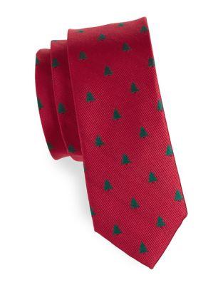 Tree Print Silk Tie