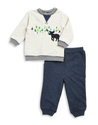 Baby Boys TwoPiece Graphic Cotton Sweatshirt and Classic Cotton Jogger Pants Set