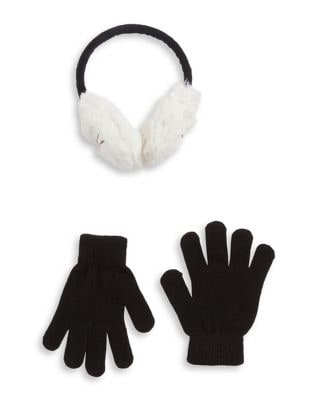 Girls TwoPiece Faux FurTrimmed Earmuffs and Gloves Set