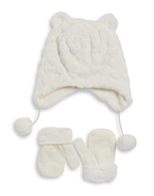 Toddler Girl's Two-Piece Faux Fur Ear Beanie and Gloves Set 500087650554