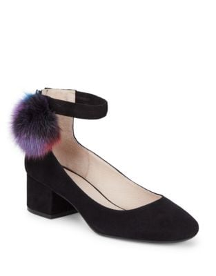 Pom-Pom Suede Ankle-Strap Pumps by Cecelia New York