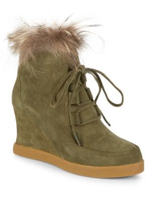 Dyed Fox Fur-Trimmed Leather Booties by Cecelia New York