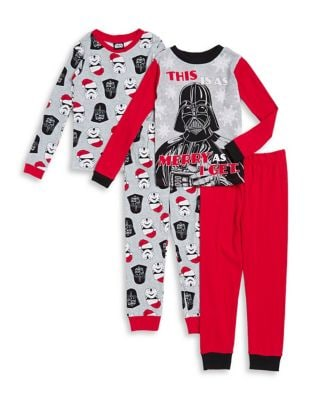 Little Boys and Boys FourPiece Darth Vader Cotton Pajama Set