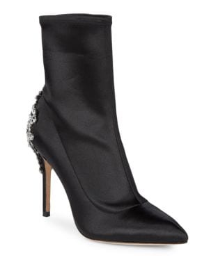 Ornate Embellished Satin Sock Booties by Badgley Mischka