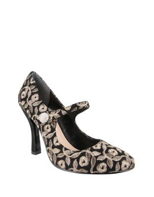 Idette Embroidered High-Heel Mary Jane Pumps by Nina