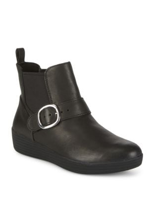 Leather Strap-Buckle Ankle Boots by FitFlop