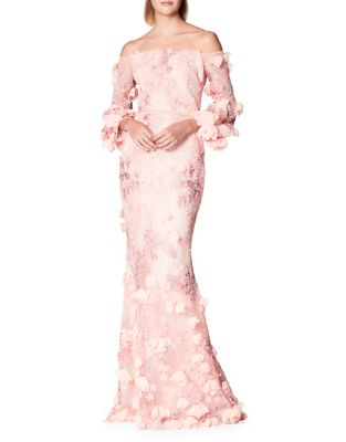 Floral Off-the-Shoulder Gown by Marchesa Notte