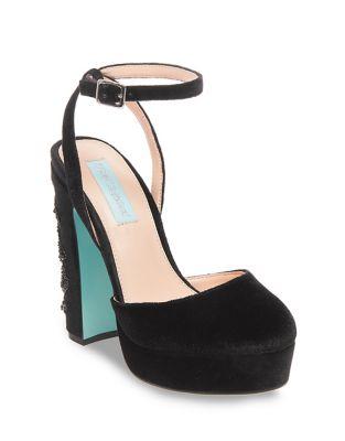 Alana Velvet Ankle-Strap Pumps by Betsey Johnson