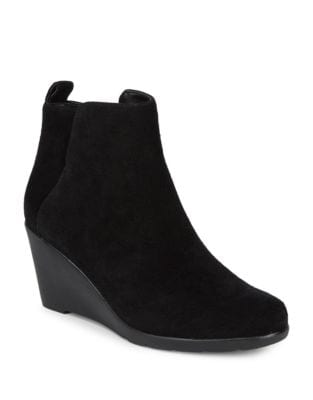 Suede Wedge Ankle Booties by Blondo