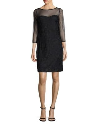 Illusion Sheer Shift Dress by Karl Lagerfeld Paris