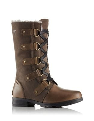 Emelie Faux Fur-Trimmed Leather and Suede Lace-Up Boots by Sorel
