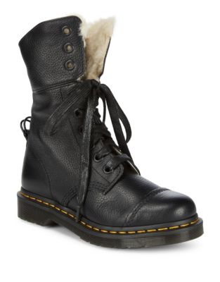 Faux Fur-Lined Leather Booties by Dr. Martens