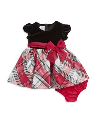 Baby Girl's Velvet-Plaid Bow Dress 500087660157