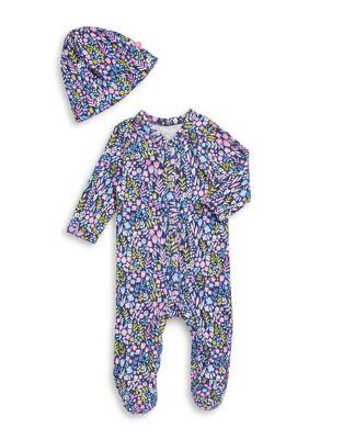 Baby Girls TwoPiece Cotton Footie  Matching Hat Set