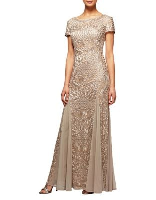 Short Sleeve Embroidered Gown by Alex Evenings