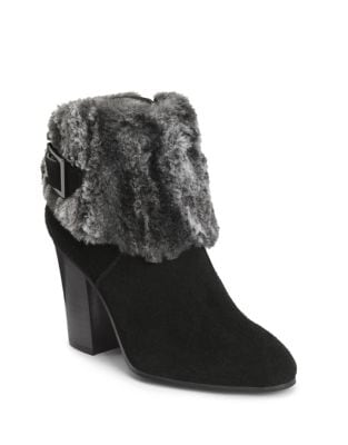 Faux Fur-Trimmed Suede Booties by Aerosoles