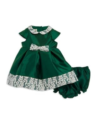 Baby Girls TwoPiece Floral Lace Dress and Elasticized Bloomers Set