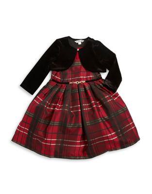 Little Girls TwoPiece Plaid Dress and Bolero Set