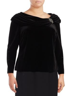 Plus Cowl Velvet Top by Alex Evenings