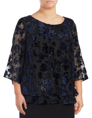 Plus Velvet Floral Blouse by Alex Evenings