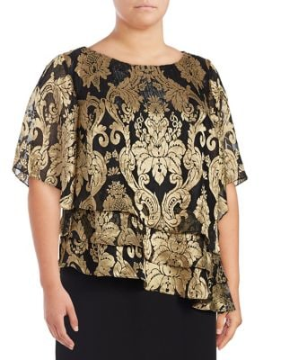 Plus Tiered Hem Blouse by Alex Evenings