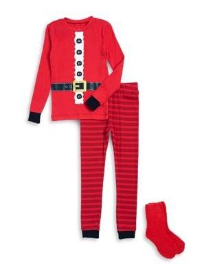 Little Boys Threepiece Santa Top Pants and Socks Pajama Set