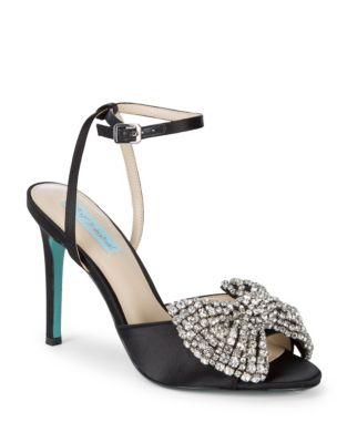 Heidi Embellished Satin Stiletto Sandals by Betsey Johnson