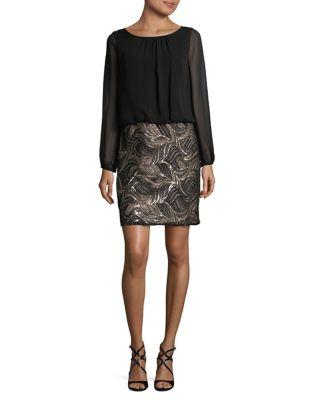 Floral Sequin Blouson Dress by Calvin Klein