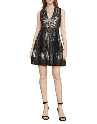 Julissa Stripe Sequin Dress by BCBGMAXAZRIA